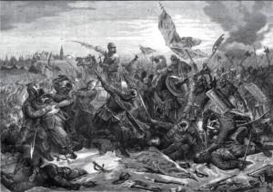 Битва князя Пожарского с гетманом Ходкевичем под Москвой.